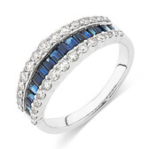 Ring with Sapphire & 5/8 Carat TW of Diamonds in 10kt White Gold