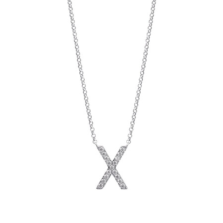"""""""X"""" Initial necklace with 0.10 Carat TW of Diamonds in 10kt White Gold"""