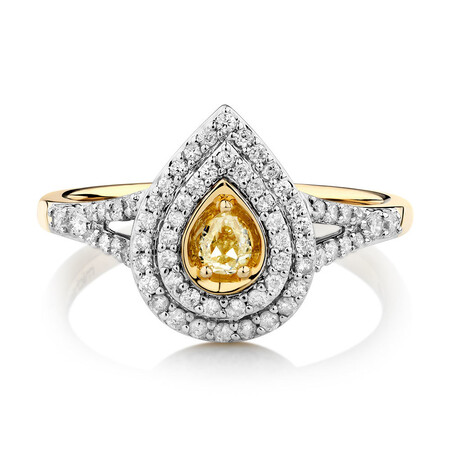 Ring with 1/2 Carat TW of Natural Yellow & White Diamonds in 14kt Yellow Gold