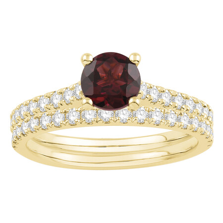 Bridal Set with Ruby & 0.69 Carat TW of Diamonds in 14kt Yellow Gold