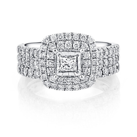 Bridal Set with 1 1/2 Carat TW of Diamonds in 14kt White Gold