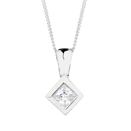 Pendant with a Cubic Zirconia in Sterling Silver