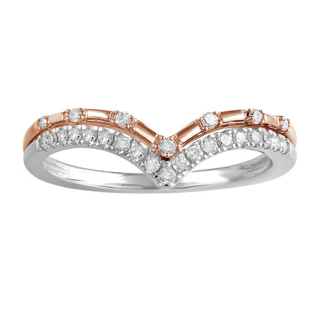 Ring with 0.15 Carat TW of Diamonds in 10kt Rose & White Gold