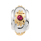 Created Ruby, 10kt Yellow Gold & Sterling Silver Charm