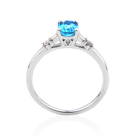 Ring with Blue Topaz & 0.10 Carat TW of Diamonds in 10kt White Gold