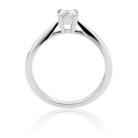 Certified Solitaire Engagement Ring with a 1/3 Carat TW Diamond in 18kt White Gold