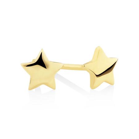 Star Stud Earrings in 10kt Yellow Gold