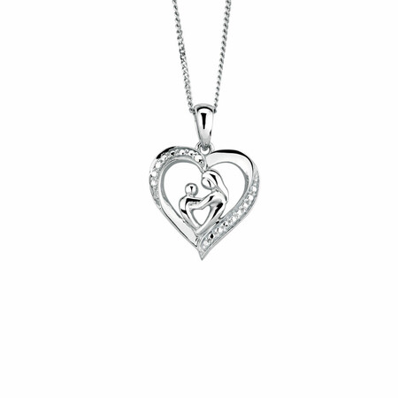 Mother & Child Pendant with Cubic Zirconia in Sterling Silver
