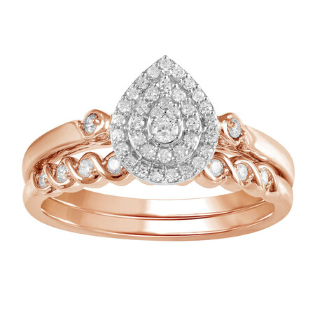 Bridal Set with 1/4 Carat TW of Diamonds in 10kt Rose & White Gold