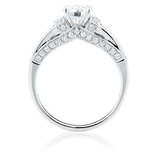 Ideal Cut Engagement Ring with 1 3/4 Carat TW of Diamonds in 14kt White Gold