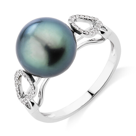Ring With 0.12 Carat TW Diamonds & Tahitian Pearl In 14kt White Gold