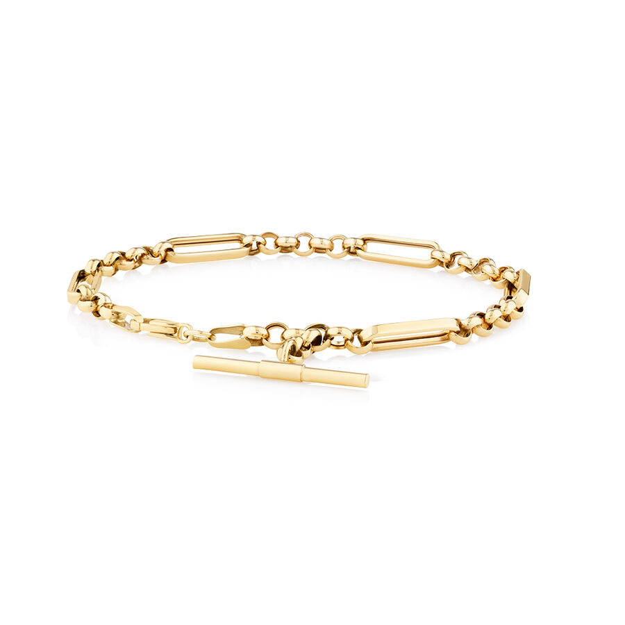 19cm Hollow Fob Bracelet in 10kt Yellow Gold