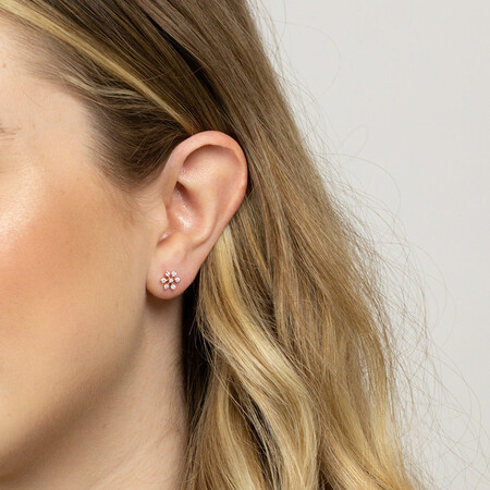 Flower Stud Earrings with 0.22 Carat TW of Diamonds in 10kt Rose Gold