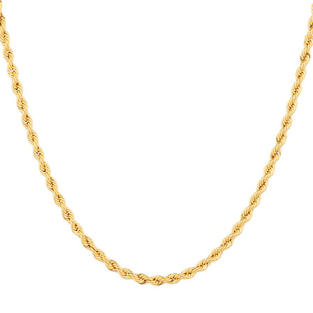 "45cm (18"") Hollow Rope Chain in 10kt Yellow Gold"