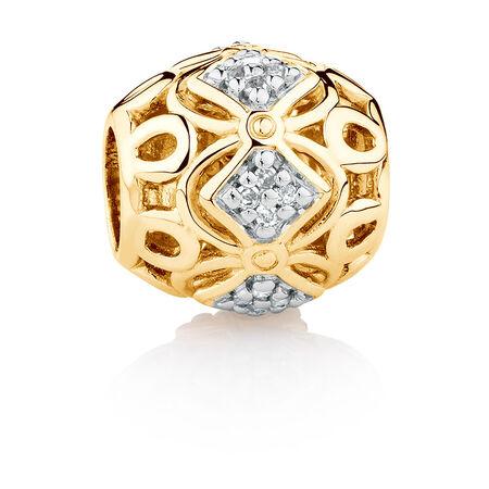 Diamond Set Charm in 10kt Yellow Gold