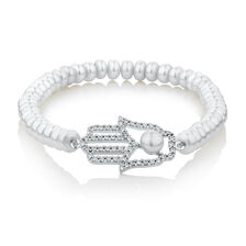 Hand Bracelet with Cubic Zirconia & Cultured Freshwater Pearls in Sterling Silver