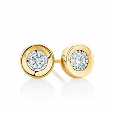 Stud Earrings with 0.15 Carat TW of Diamonds in 10kt Yellow Gold