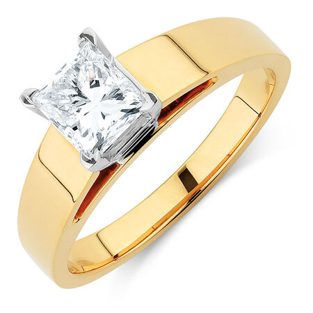 Solitaire Engagement Ring with a 0.95 Carat Diamond in 14kt Yellow & White Gold