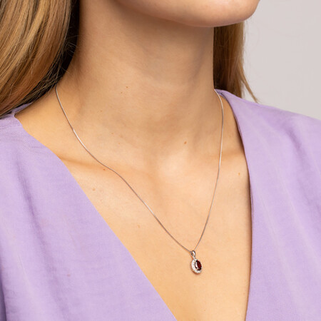 Halo Pendant with Garnet and 0.04 TW of Diamonds in Sterling Silver