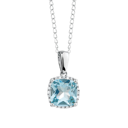 Pendant with Aquamarine & Diamond in 10kt White Gold