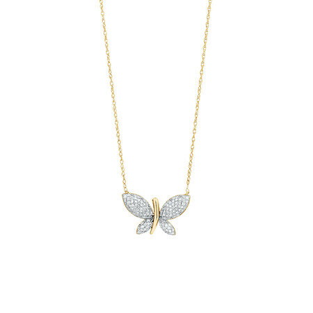 Butterfly pendant with 0.20 Carat TW Diamonds in 10kt Yellow Gold