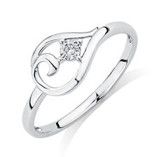 Ring with Diamond in 10kt White Gold