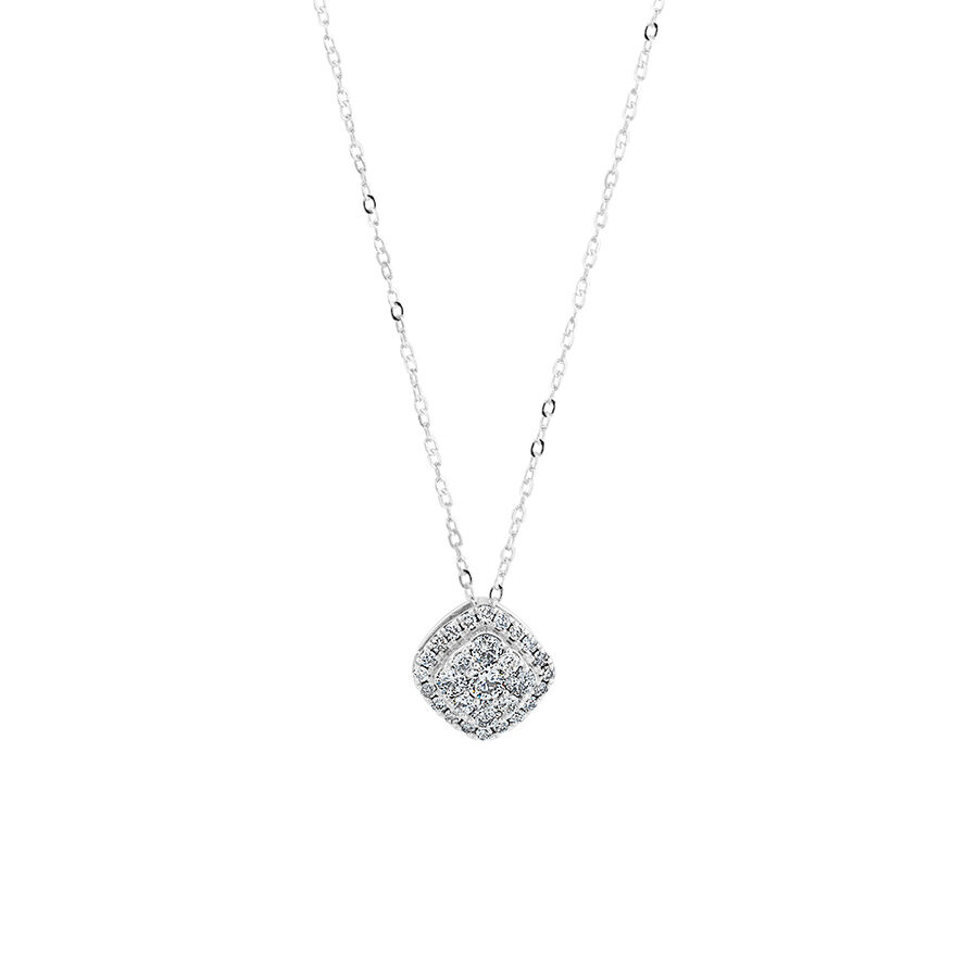 Cluster Pendant with 0.50 Carat TW of Diamonds in 10ct White Gold