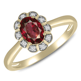 Ring with Rhodalite Garnet & Diamond in 10kt Yellow Gold