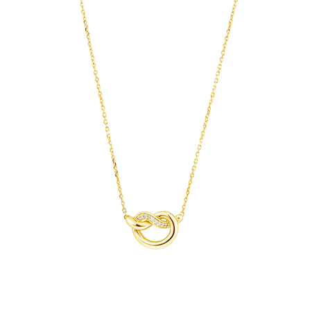 Mini Knots Necklace with Diamonds in 10kt Yellow Gold