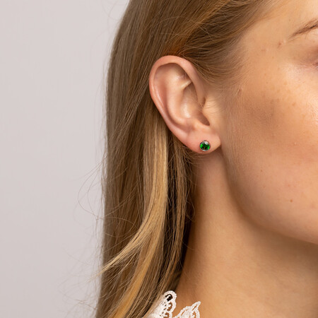 Stud Earrings with Emerald Cubic Zirconia in Sterling Silver