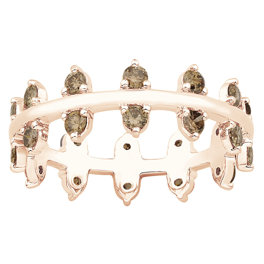 Zipper Ring with 0.82 Carat TW of Champagne Diamonds in 10kt Rose Gold