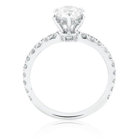 Sir Michael Hill Designer Engagement Ring With 1.42 Carat TW Of Diamonds In 14ct White & Rose Gold