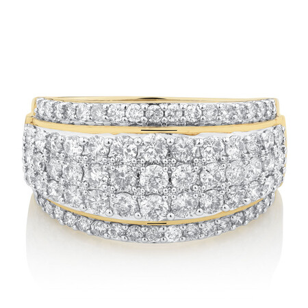 Five Row Ring with 1 3/4 Carat TW of Diamonds in 14kt Yellow Gold