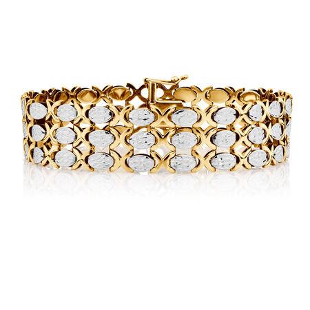 """19cm (7.5"""") Bracelet in 10kt Yellow & White Gold"""