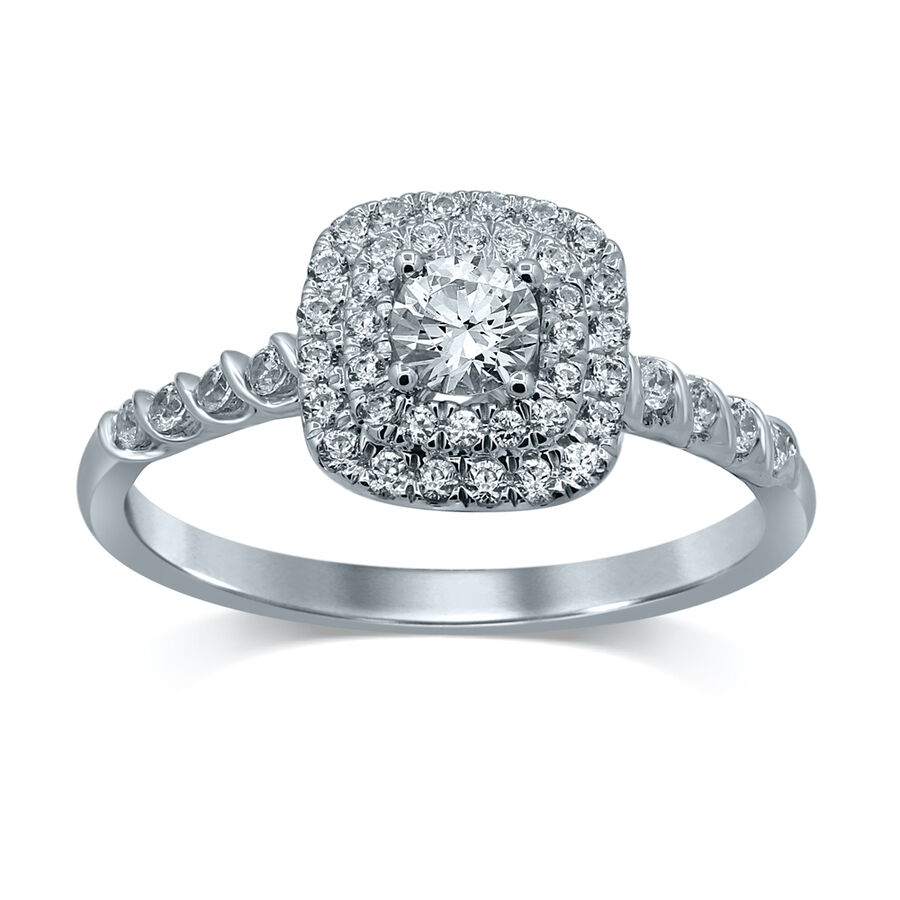 Twist Ring with 0.56 Carat TW of Diamonds in 14kt White Gold