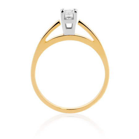 Solitaire Engagement Ring with a 0.34 Carat Diamond in 14kt Yellow & White Gold