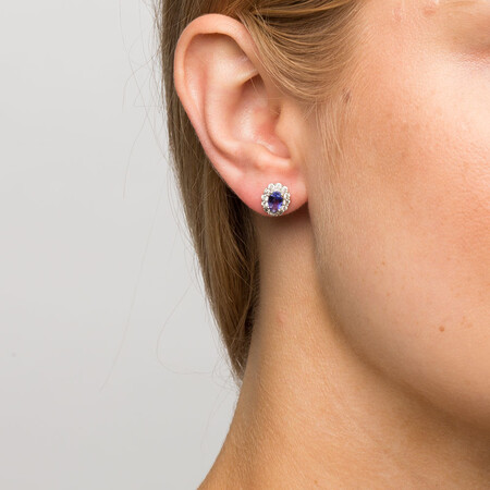 Stud Earrings with Tanzanite & 1/2 Carat TW of Diamonds in 10kt White Gold