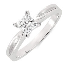 Solitaire Engagement Ring with a 1/2 Carat Diamond in 18kt White Gold