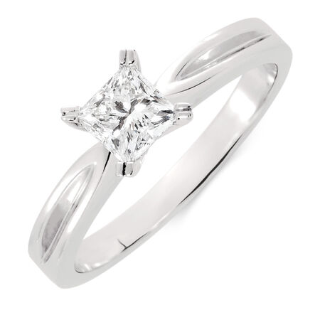 Online Exclusive - Solitaire Engagement Ring with a 1/2 Carat Diamond in 18kt White Gold