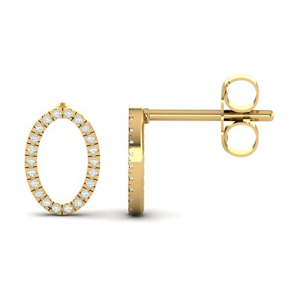 Oval Stud Earrings with Diamonds in 10kt Yellow Gold