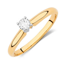 Solitaire Engagement Ring with a 0.20 Carat Diamond in 14kt Yellow & White Gold
