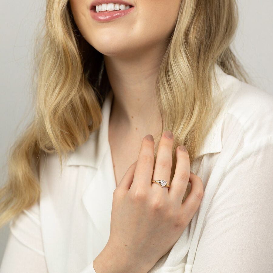 Heart Pave Ring with Diamonds in 10kt Yellow Gold