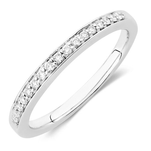 Wedding Band with 0.15 Carat TW of Diamonds in 18kt White Gold