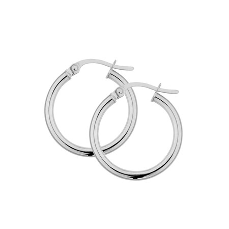 18mm Hoop Earrings in 10kt White Gold