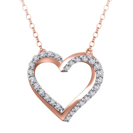 Heart Necklace with 0.25 Carat TW of Diamonds in 10kt Rose Gold
