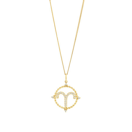 Aries Zodiac Pendant with 0.15 Carat TW of Diamonds in 10kt Yellow Gold