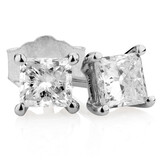 Stud Earrings with 0.46 Carat TW of Diamonds in 14kt White Gold