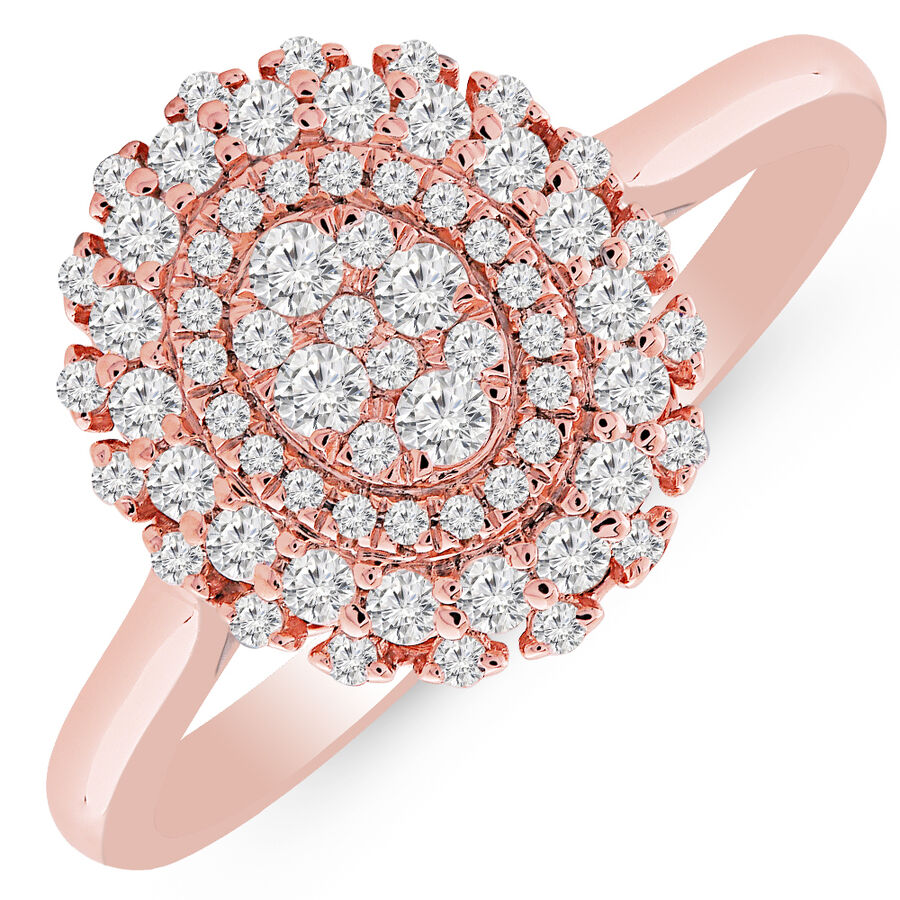 Cluster Ring with 1/2 Carat TW of Diamonds in 10kt Rose Gold