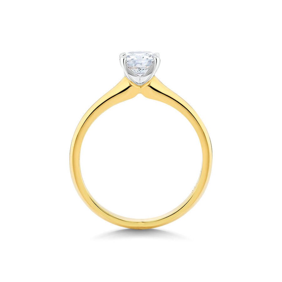 Certified Solitaire Engagement Ring with a 0.70 Carat TW Diamond in 14ct Yellow & White Gold