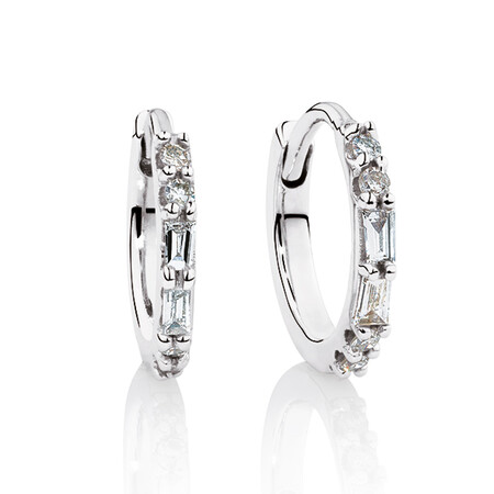 Hoop Earrings with Diamonds in 10kt White Gold